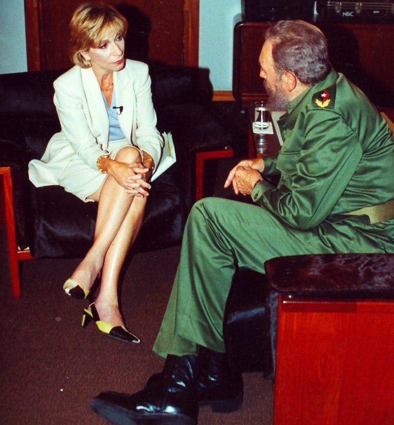 Andrea interviewing Fidel Castro in Cuba in June 2001