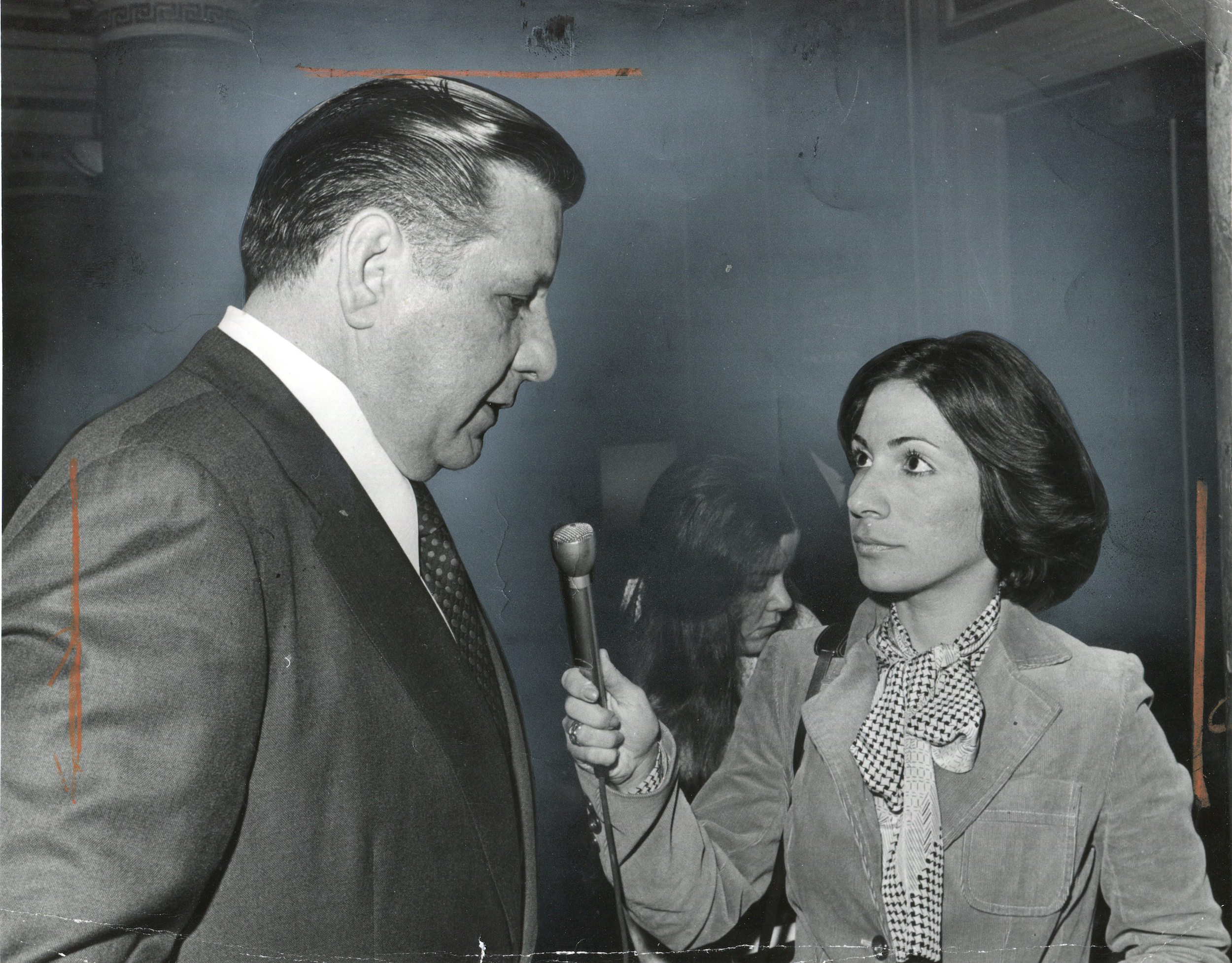 Andrea Mitchell interviewing former Philadelphia Mayor Frank Rizzo.