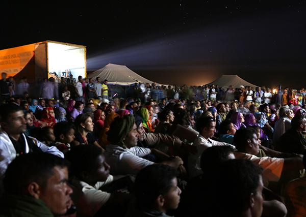 Outdoor film screening at the FiSahara Film Festival